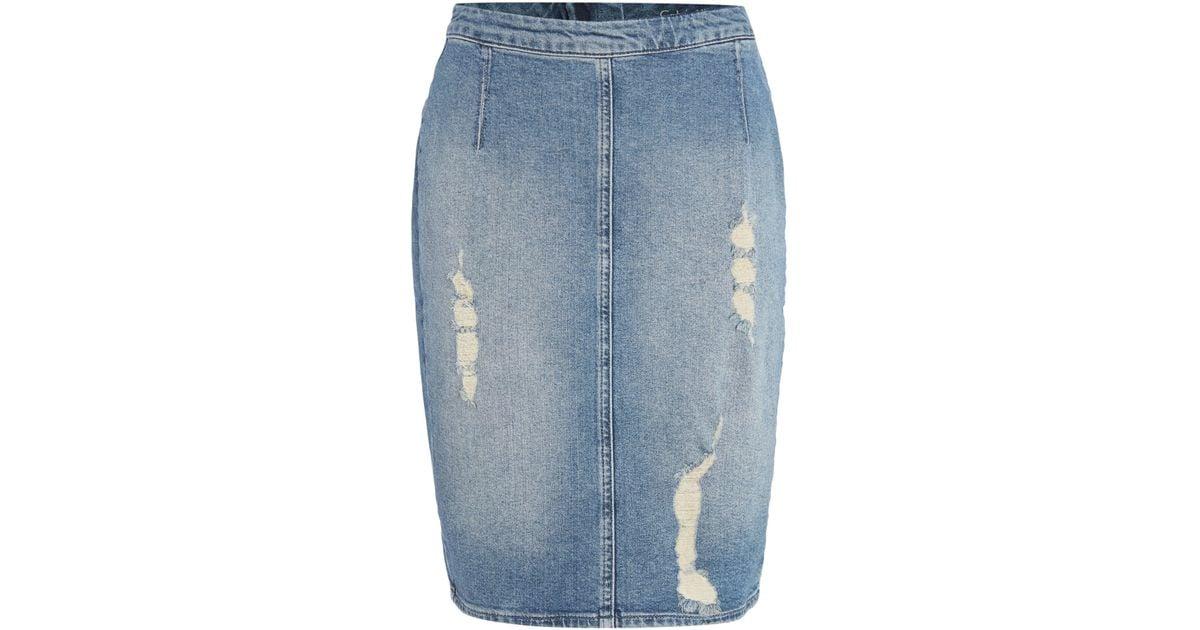 calvin klein ripped denim pencil skirt in blue lyst