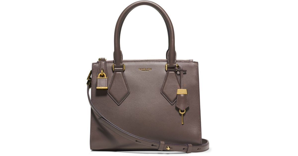 bfa724dd97150e ... Michael kors Casey Small Leather Satchel in Gray Lyst ...