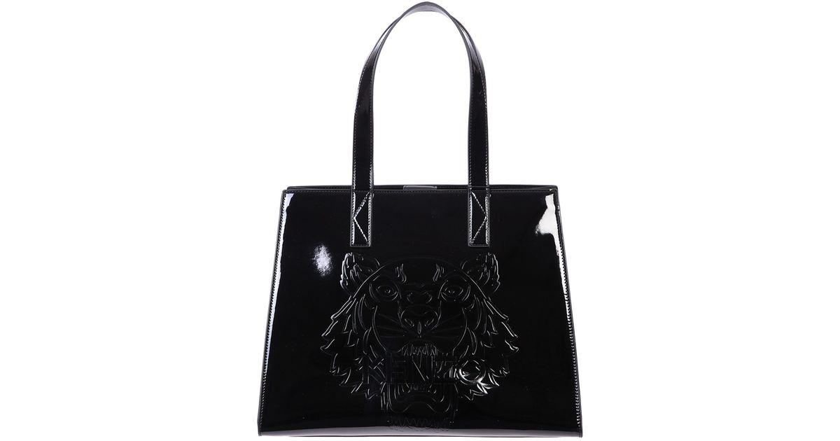 6e1514c17d60 Lyst - KENZO Patent Tote Bag in Black