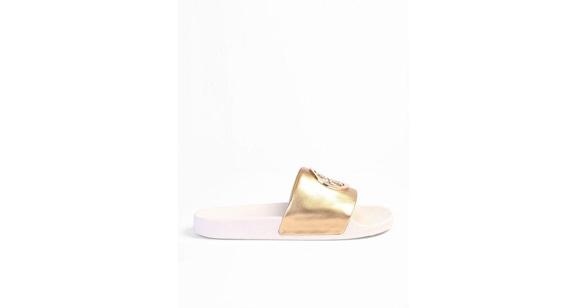 fb53dbc4b288 Lyst - Tory Burch Lina Metallic Logo Slide Sandals in Metallic