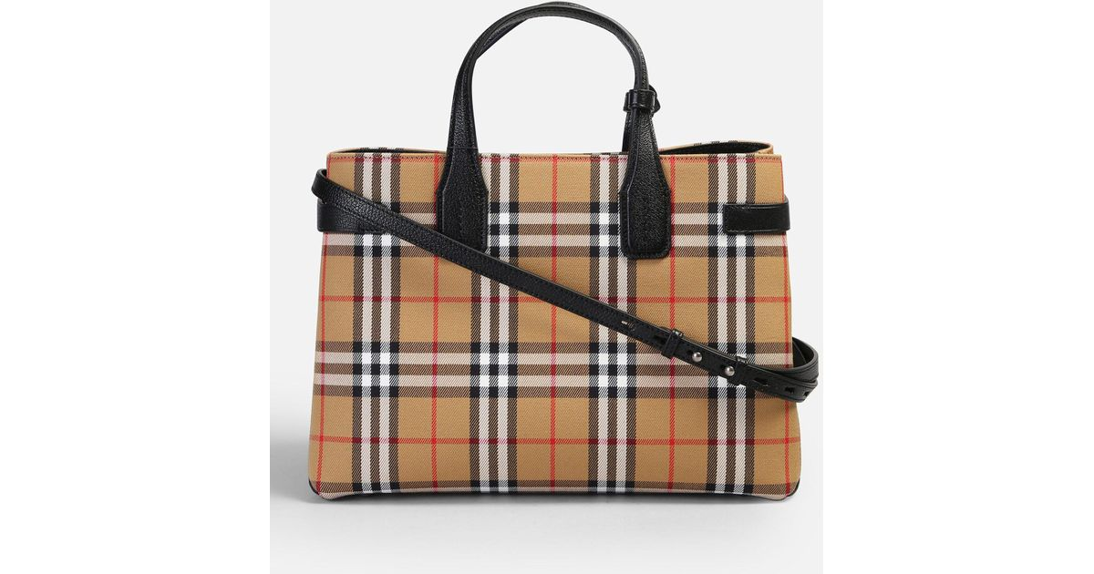fc7ed759e210 Burberry Banner M Canvas And Leather Bag Lyst