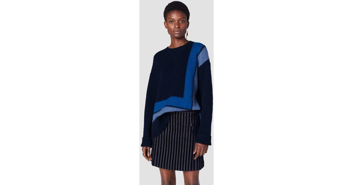0c07b66254 Lyst - 10 Crosby Derek Lam Crewneck Blanket Sweater in Blue