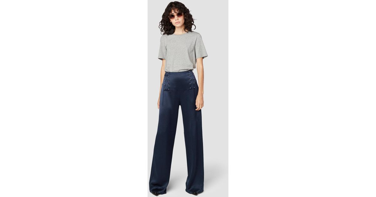 b461b1e507855 Lyst - Derek Lam Sailor Pant With Barbell Detail in Blue