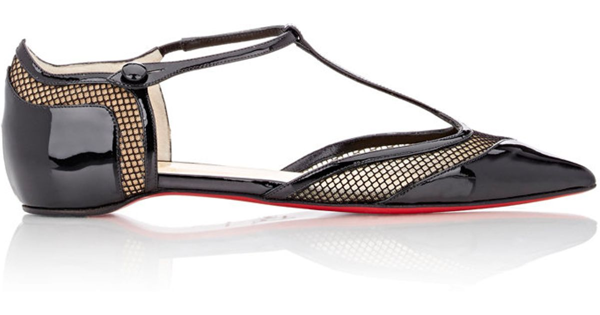 09bb98e8388c Lyst - Christian Louboutin Mrs Early T-strap Flats in Black