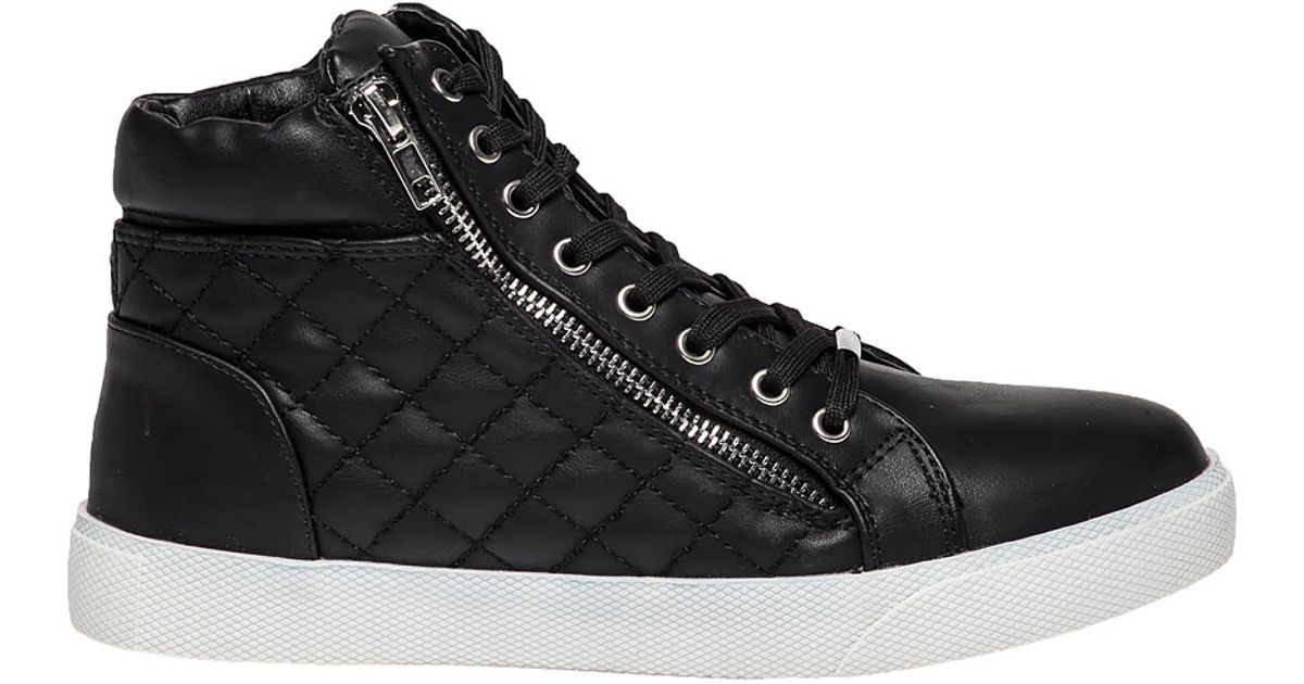 Black Quilted Leather Sneaker - Lyst