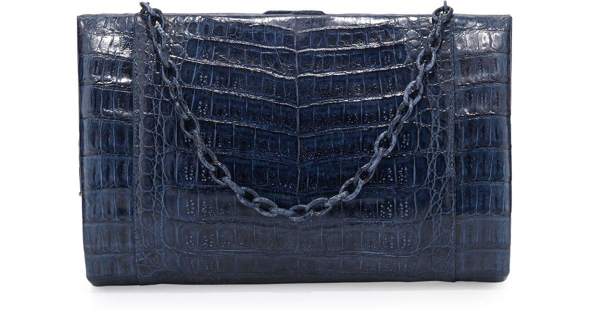 chloe fakes - Nancy gonzalez Crocodile Large Framed Clutch with Chain Navy in ...