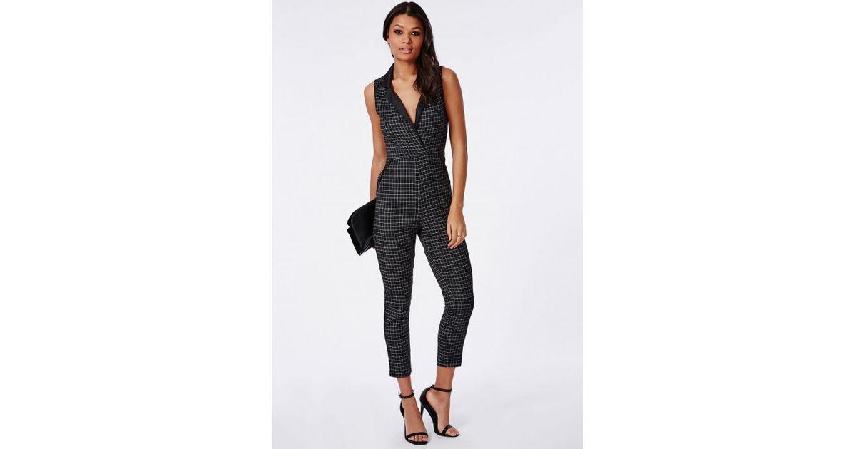 f04b6ddc1e4 Missguided Satin Lapel Check Jumpsuit Black in Black - Lyst