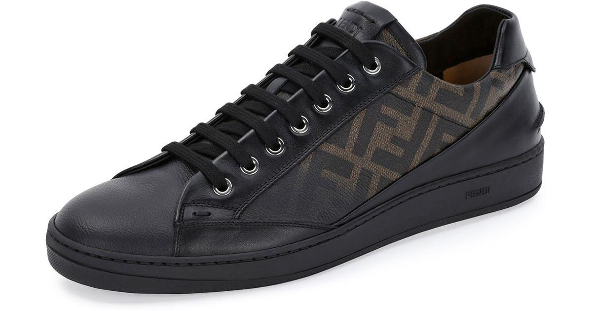 9f73745ba42d0b Lyst - Fendi Zucca Leather Lowtop Sneaker in Black for Men