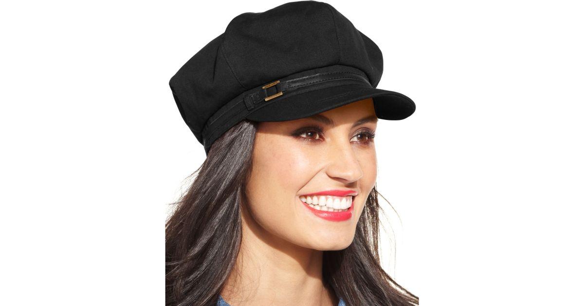 a81fb93c7312c Nine West Canvas Newsboy Hat in Black - Lyst