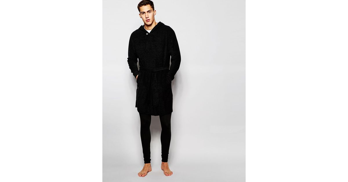 Lyst - Asos Loungewear Dressing Gown In Towelling in Black for Men