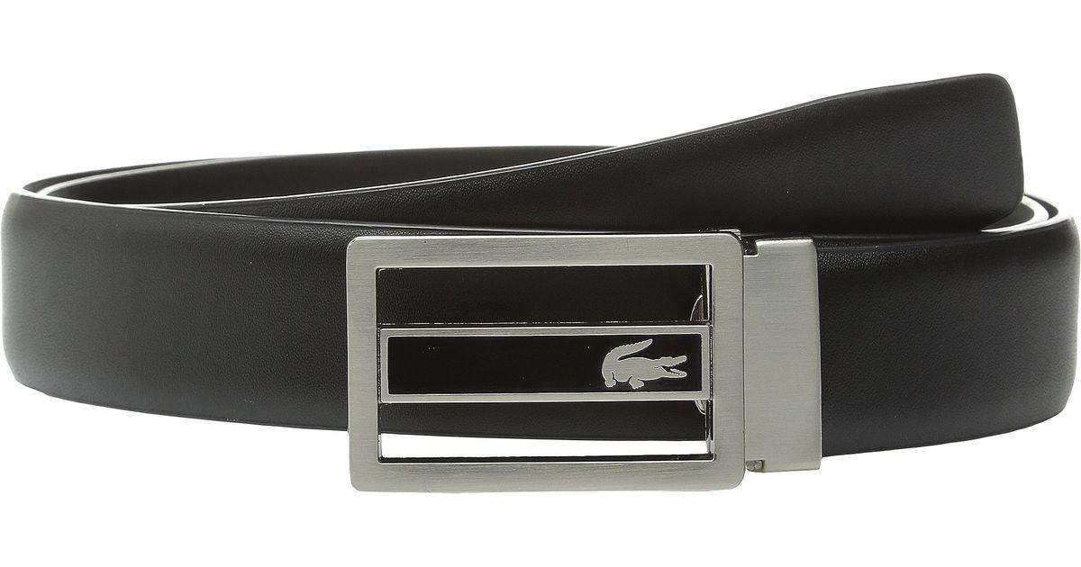 ca8dfc7b6b59e0 Lyst - Lacoste Premium Leather Metal Croc Cutout Plate Belt in Black for Men