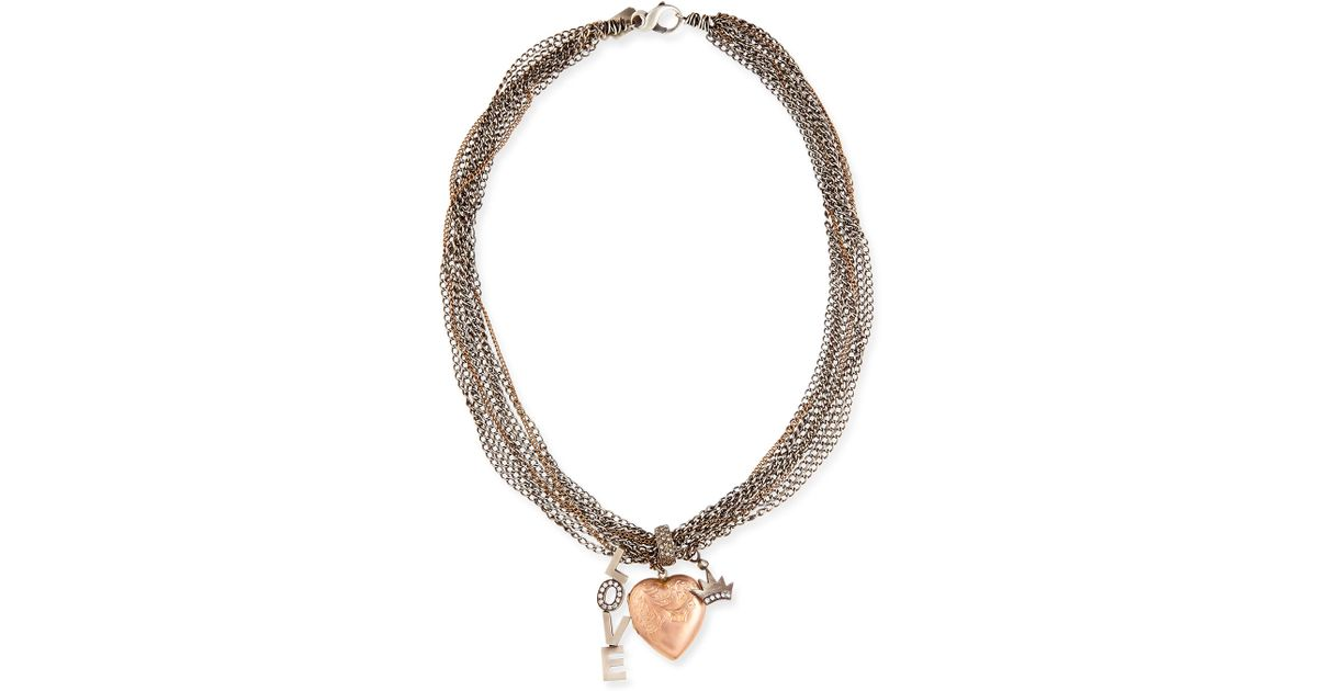 Lyst Irit Design Antique Pink Gold Heart Locket Necklace With