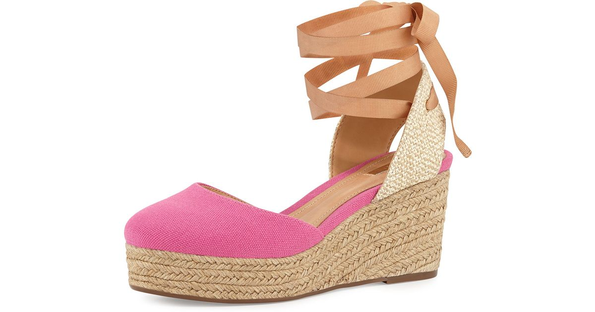 ce71a3ab1f7 Lyst - Schutz Caysey Jute Canvas Espadrille Wedge in Pink