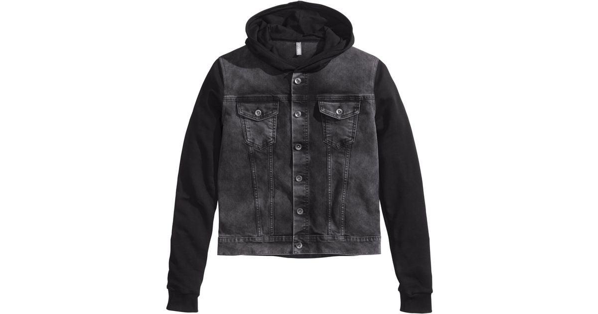 94bd80cb6292 Lyst - H M Hooded Denim Jacket in Black for Men
