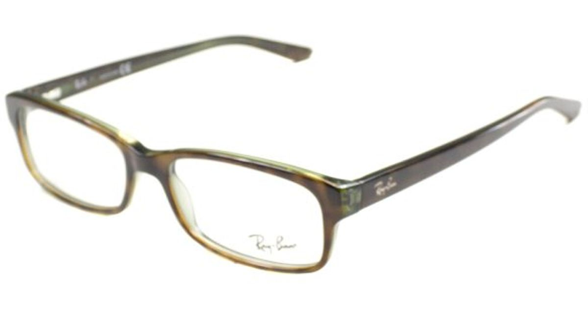 56d8734f3b Ray-ban Rx 5187 2445 Green Havana Rectangle Plastic Eyeglasses-52mm in Green