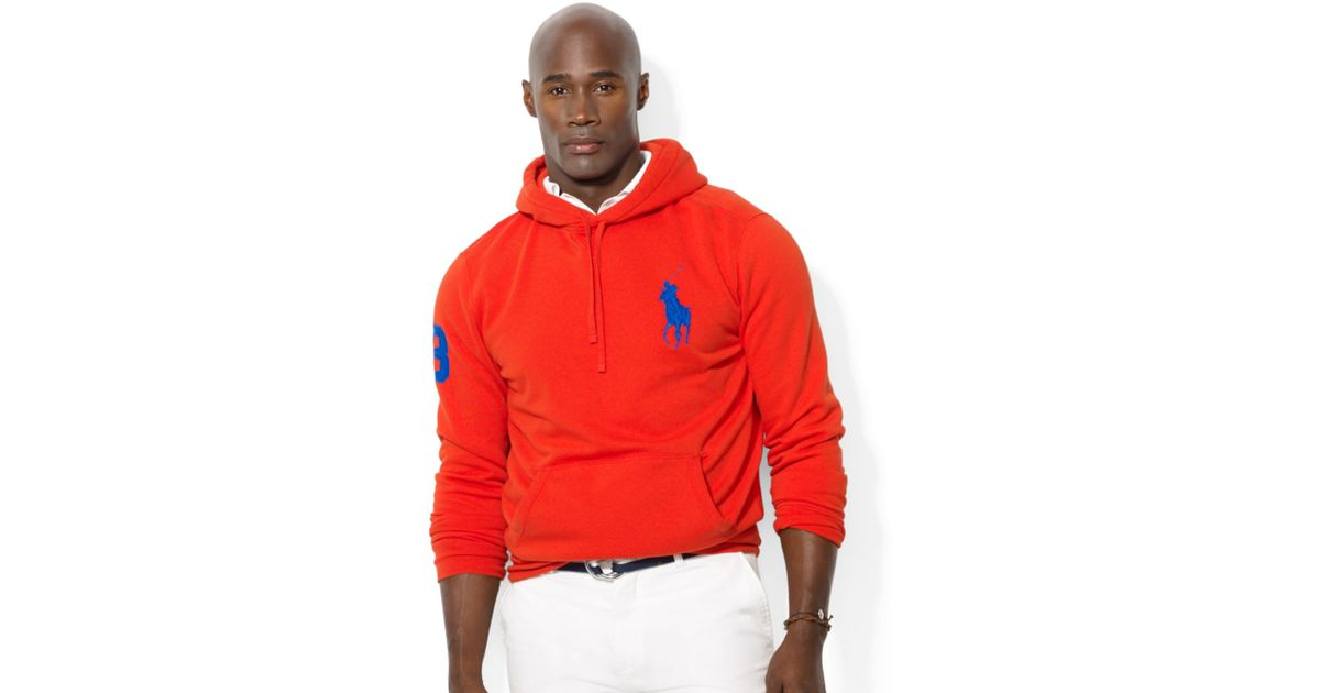 Ralph lauren Polo Big and Tall Big Pony Beach Fleece Pullover Hoodie in Red for Men
