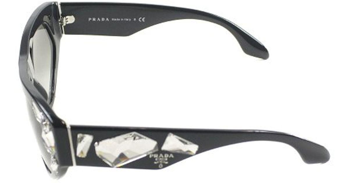 88cc0c63a362 Prada Voice Pr 21Qs 1Ab0A7 Black With Crystal Stones Plastic Fashion Cat  Eye Sunglasses Grey Gradient Lens in Black for Men - Lyst