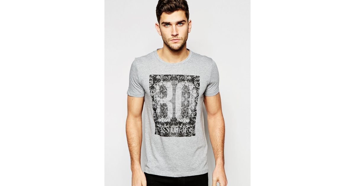 boss orange t shirt with print in gray for men grey lyst. Black Bedroom Furniture Sets. Home Design Ideas