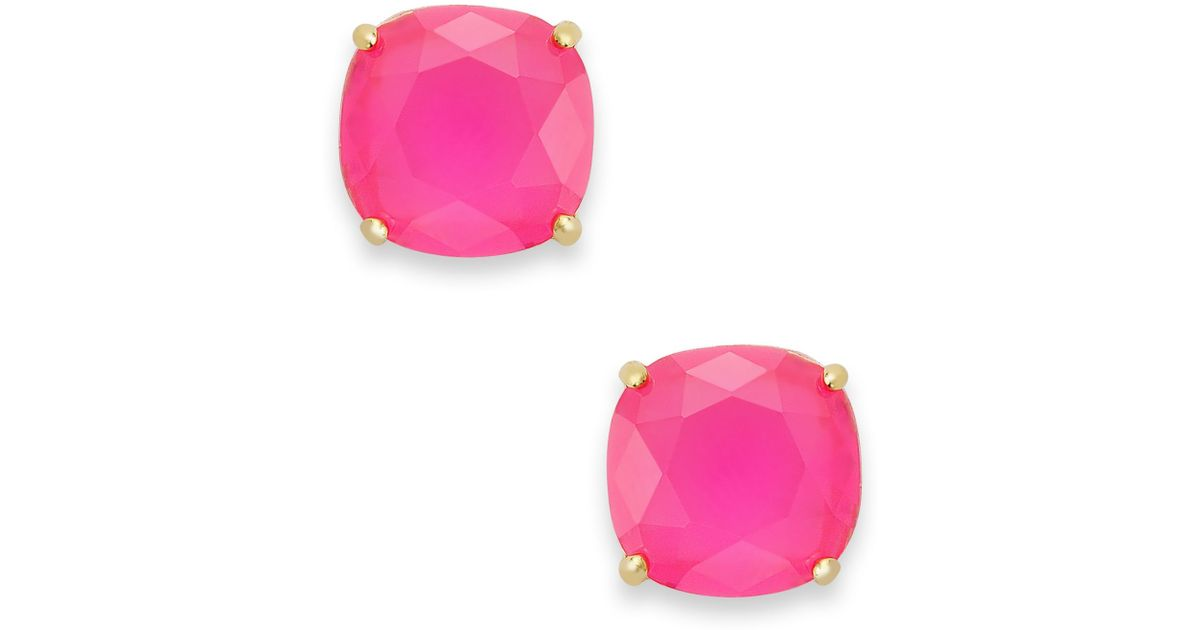 Lyst Kate Spade New York 12k Gold Plated Pink Stone Square Stud Earrings In