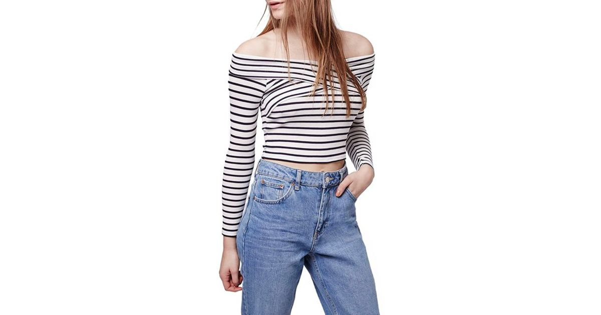 aaddb63bf66053 Petite Topshop Stripe Off the Shoulder Crop Top ( 38) ❤ liked on Polyvore  featuring tops