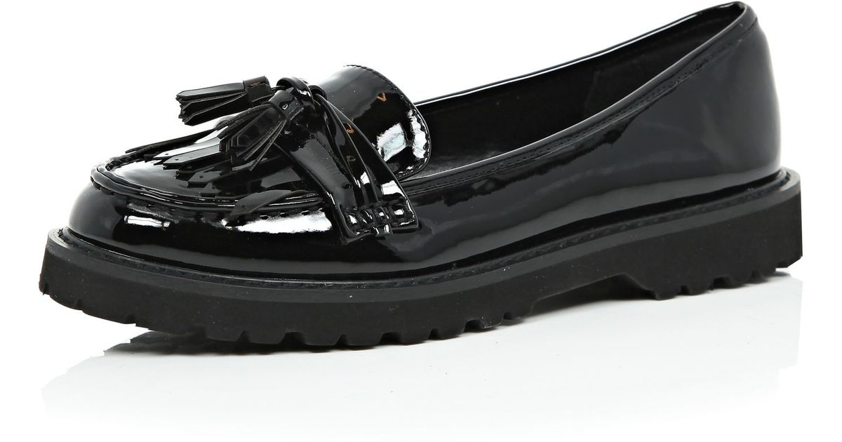 471a00127 River Island Black Patent Chunky Loafers in Black - Lyst
