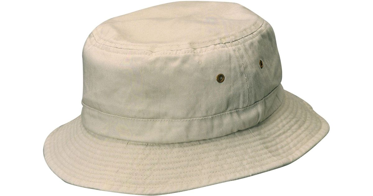 b094f638fb9 Lyst - Dorfman Pacific Pigment Dyed Twill Bucket Hat in Natural for Men