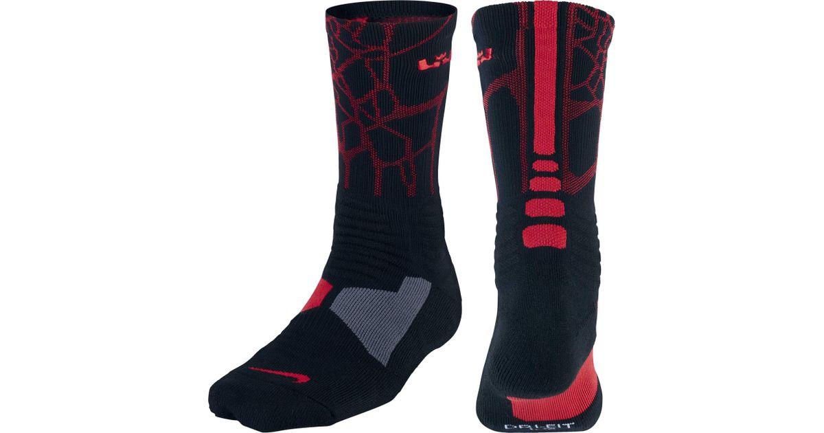 d779fc5d73e1 Lyst - Nike Lebron Hyper Elite Crew Basketball Socks in Black for Men