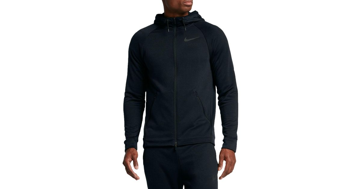 Lyst - Nike Dry Hyper Fleece Full Zip Hoodie in Black for Men 8fb35f21f