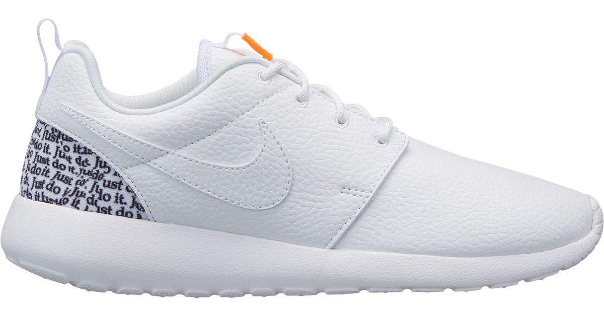 Nike White Roshe One Premium Just Do It Shoes