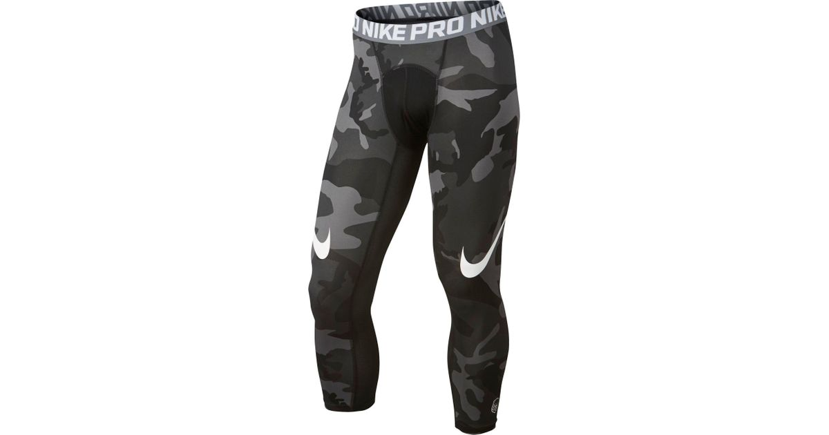 e2d228bad13a8 Nike Pro Cool Camo Printed Quarter Length Football Tights in Black for Men  - Lyst