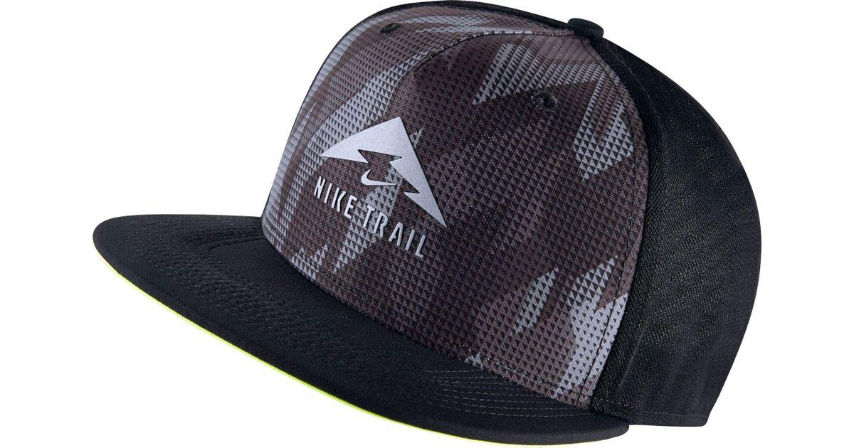 d0a1d79c5 Nike Black Trail Aerobill Trucker Running Hat for men