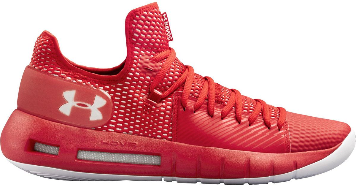 detailed look 3d9b3 9d3fd Under Armour Red Hovr Havoc Low Basketball Shoes for men