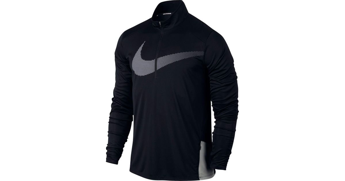 7dab1779b5daf Nike Black Dry City Core Long Sleeve Half Zip Running Shirt for men