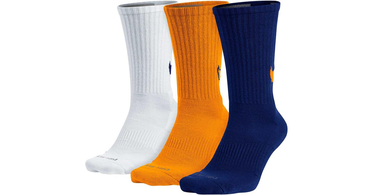 8000ccb1f6995 Nike Orange Dri-fit Cotton Swoosh Hbr Crew Socks 3 Pack for men