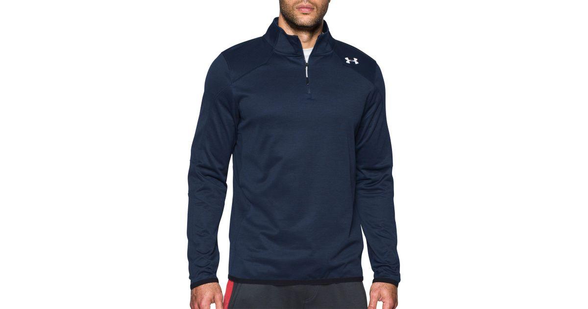 aaddb615 Under Armour Blue Coldgear Reactor 1/4 Zip Long Sleeve T-shirt for men