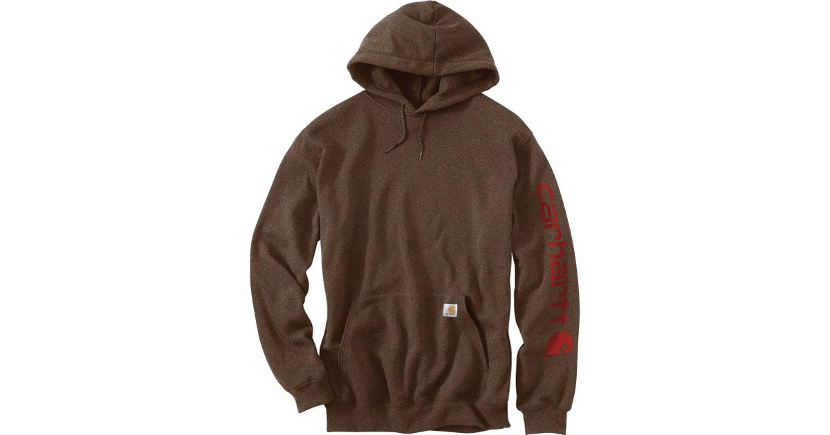 b4094074f48 Lyst - Carhartt Midweight Hooded Logo Sleeve Sweatshirt in Brown for Men