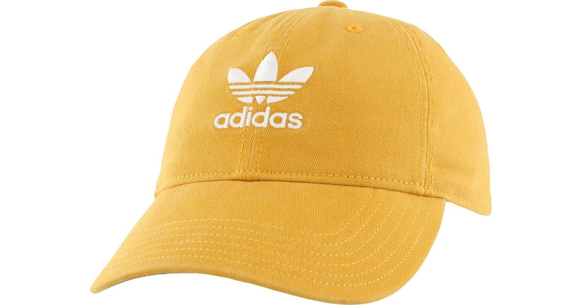 b8ab8bea ... coupon for lyst adidas originals relaxed strapback hat in yellow 95971  c87d5