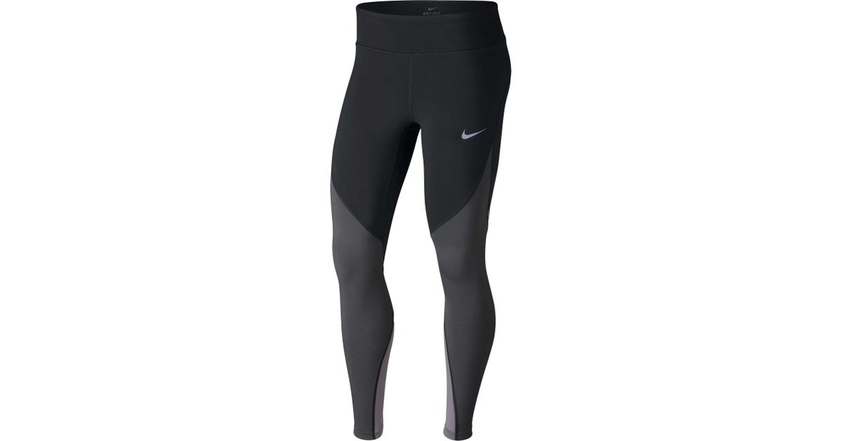 1aacd8993a684 Lyst - Nike Power Epic Lux Colorblock Running Tights in Black