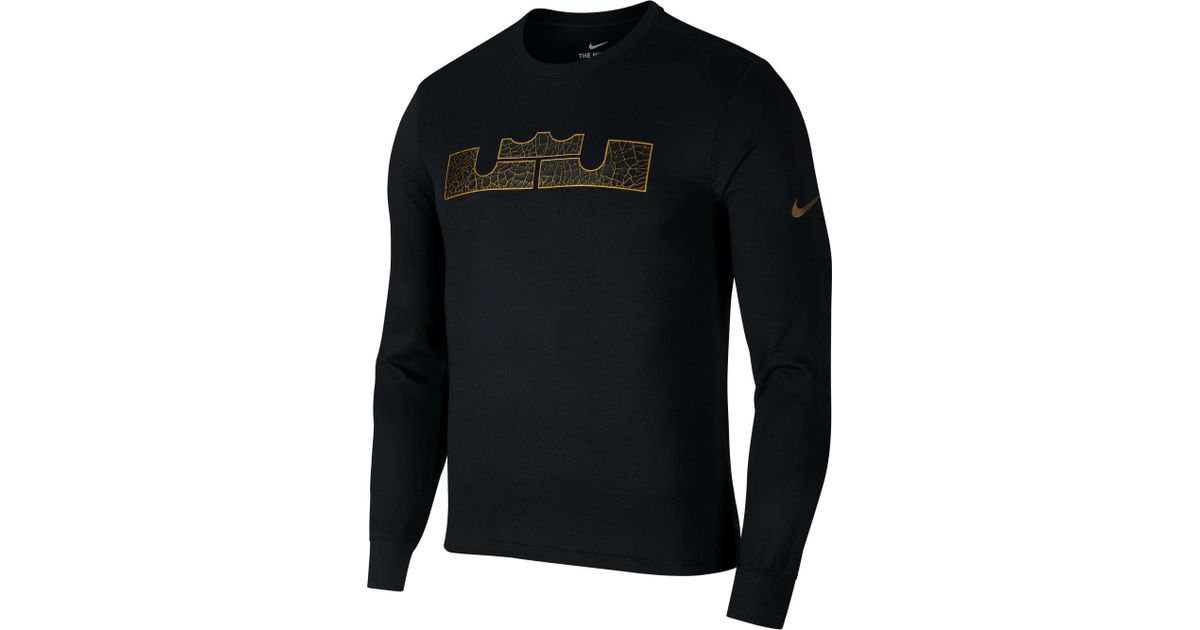 375a8e29 Nike Dry Lbj Strongest Long Sleeve Graphic Tee in Black for Men - Lyst