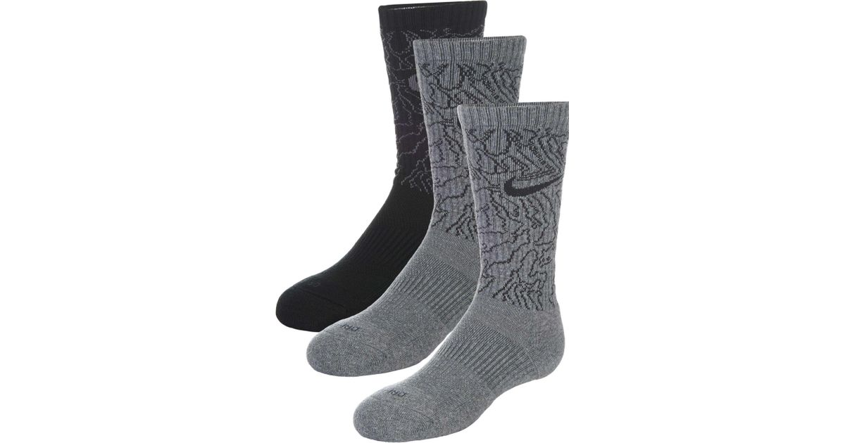 9f747ff7fe0a1 Lyst - Nike Dri-fit Topo Camo Crew Training Socks 3 Pack in Gray for Men