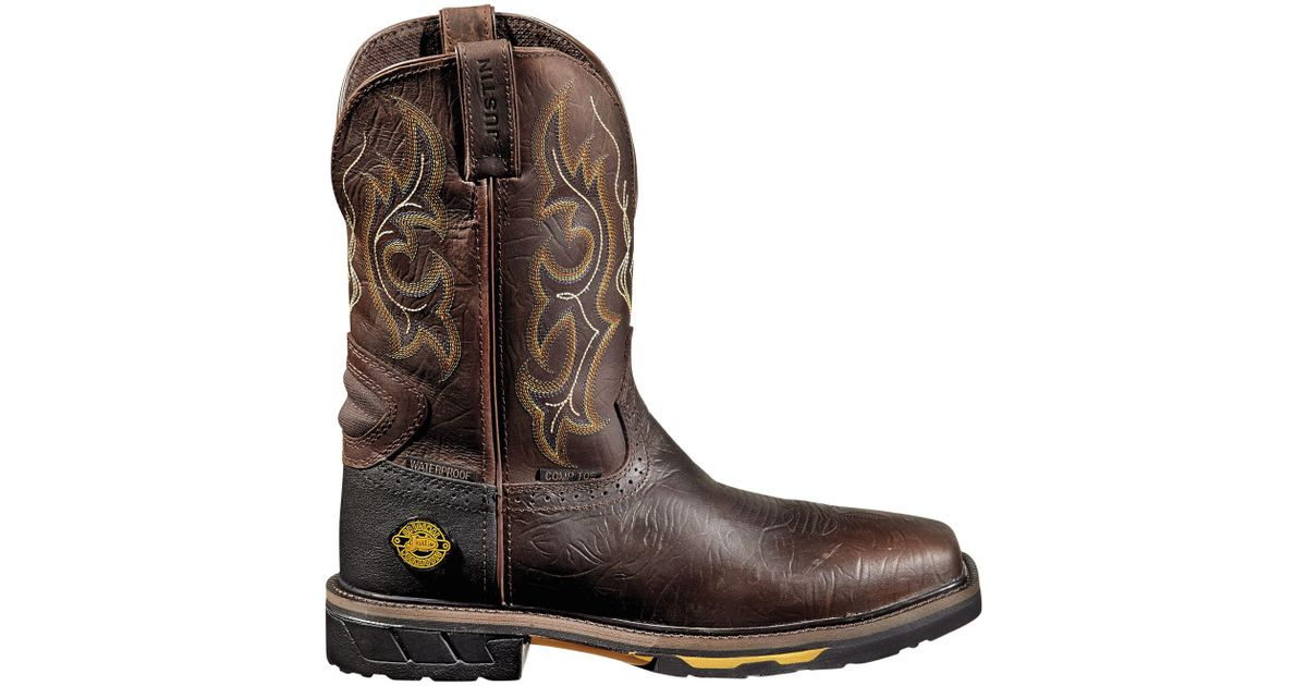 757cfb05793 Justin Boots Brown Justin Rustic Barnwood Hybred Waterproof Work Boots for  men