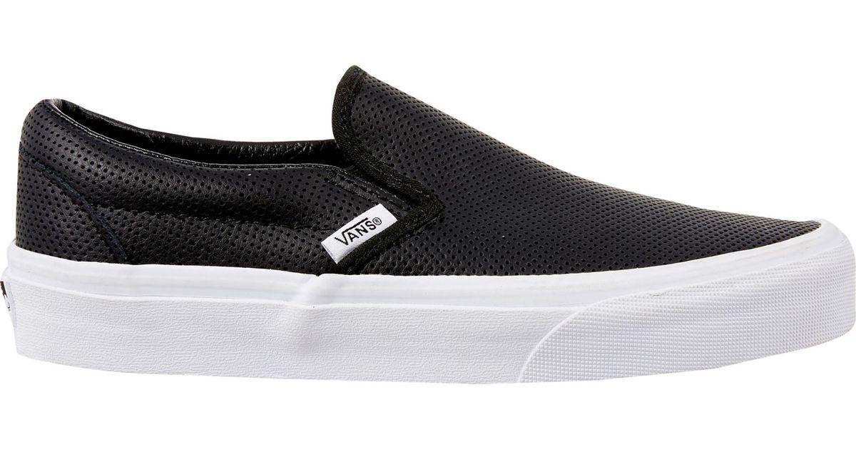 Vans Black Perf Leather Slip on Shoes