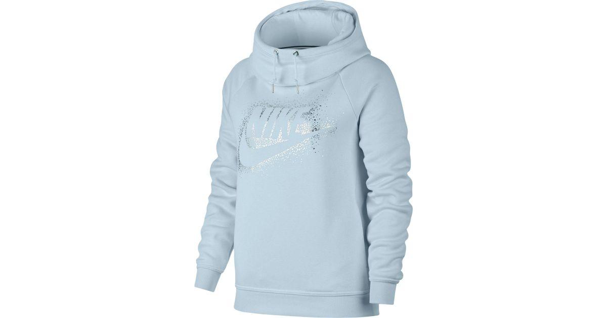 Nike Blue Sportswear Rally Metallic Funnel Neck Graphic Hoodie