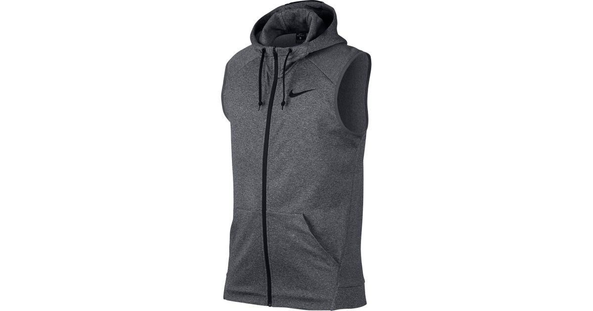 42e39f811f Lyst - Nike Therma Sleeveless Full Zip Hoodie in Gray for Men