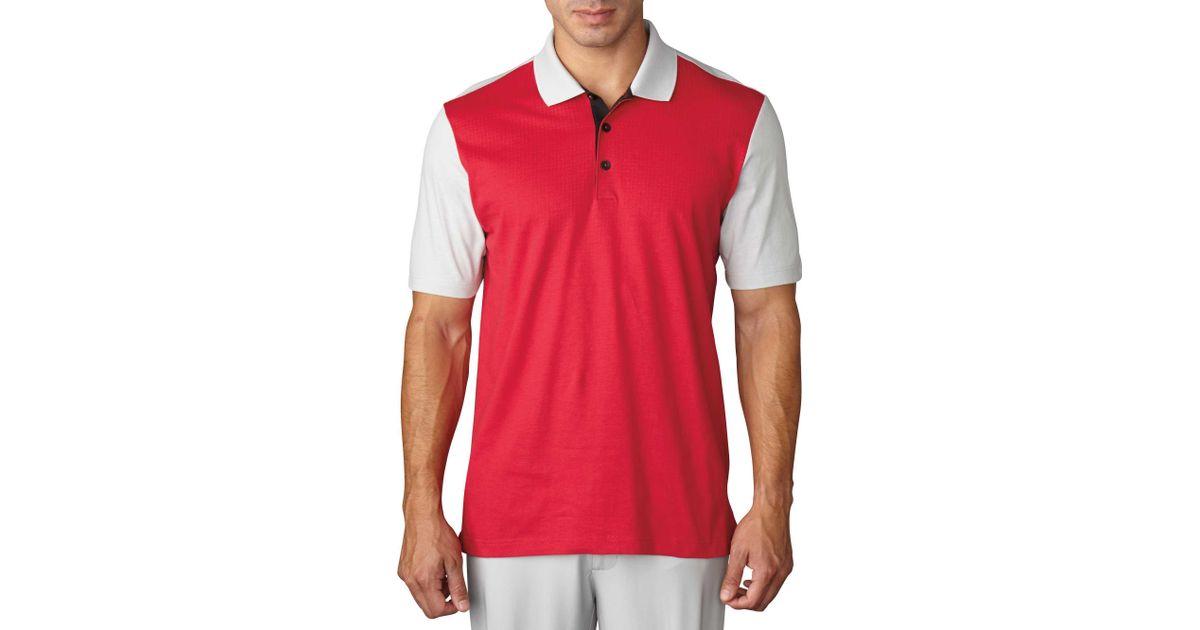 Adidas Pink Climacool Aeroknit Block Golf Polo for men