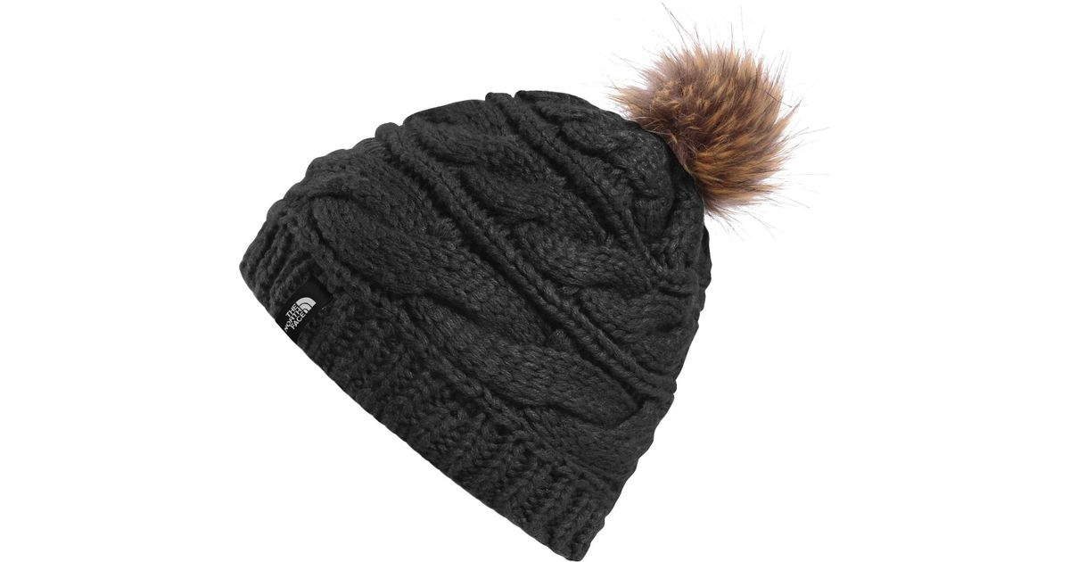 premium selection 7ed0d d5288 The North Face Triple Cable Fur Pom Beanie in Black - Lyst