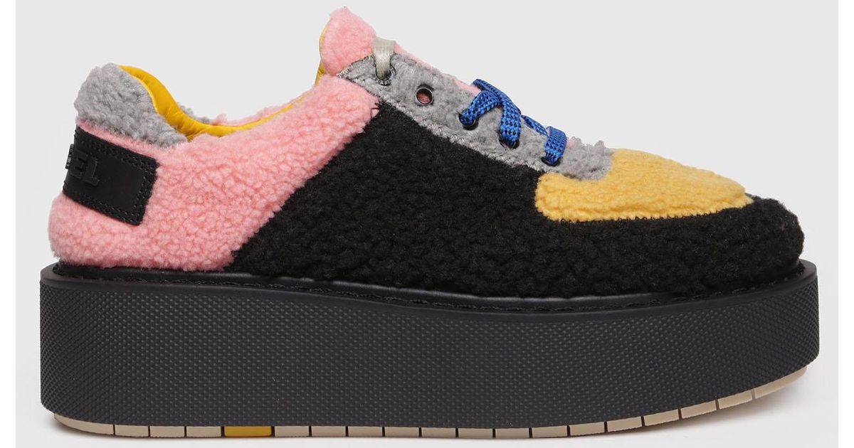 c713f6866e6 Lyst - DIESEL Platform Shoes With Faux Fur Inserts