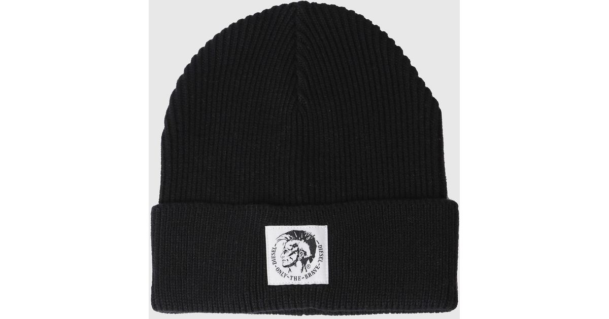 f39e73ac504 Lyst - DIESEL Wool-and-cotton Beanie With Mohawk Logo in Black