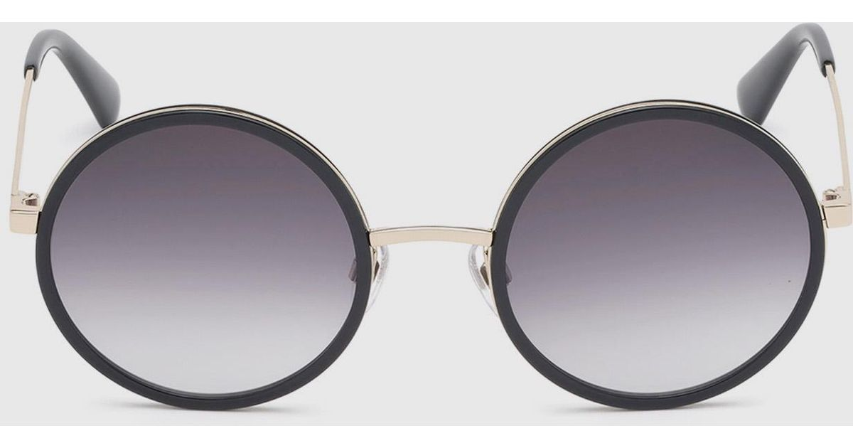 93e7fe86930 ... Lyst DIESEL Rounded Sunglasses In Acetate in Black