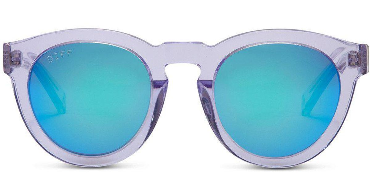 Lyst - Diff Dime Ll - Wild And Free - Clear Frame - Blue Mirror Lens ...